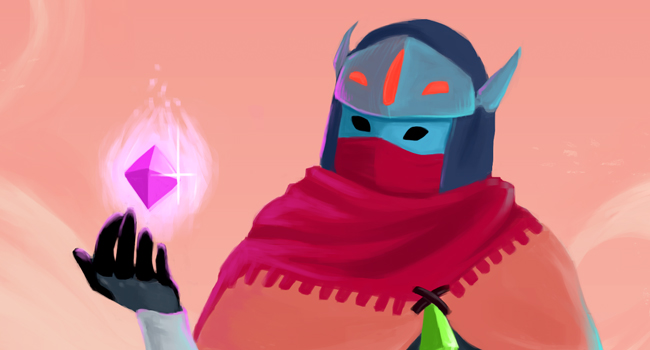 Digital painting of a drifter from Hyper Light drifter