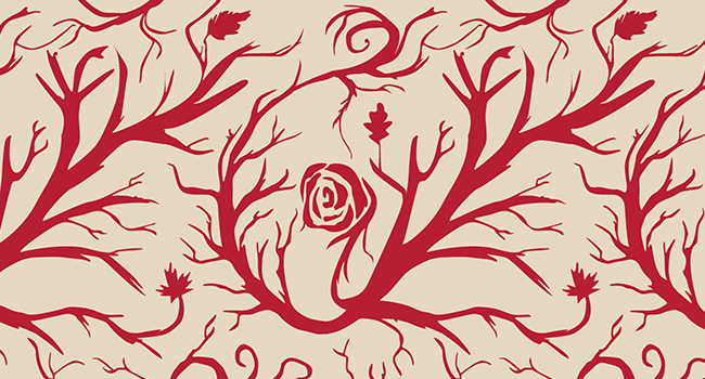 Vector graphic of a repeating pattern with vines, veins and roses