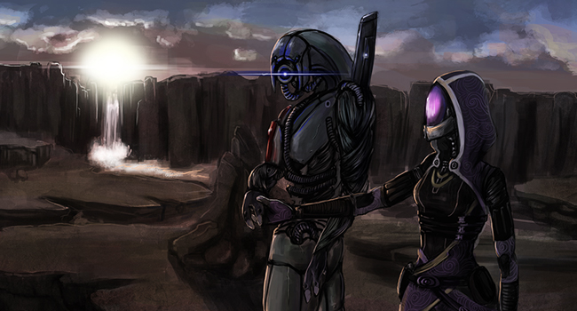 Digital painting of the planet Rannoch from Mass Effect 3