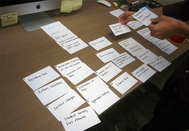 Process work showing a card sorting exercise in action